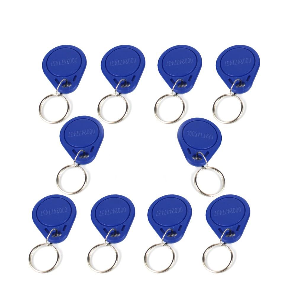 10pcs Access Control RFID Keyfobs 125KHz Proximity ID Token Tag Key Keyfobs Blue Color For Door Access Control System F1661B