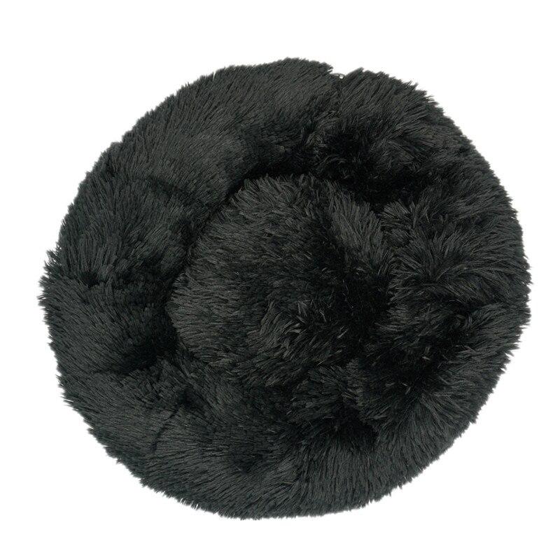 Black-Round Cat Beds House Soft Long Plush Best Pet Dog Bed For Dogs Basket Pet