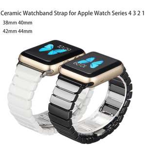 Ceramic-Watchband Link-Strap Bracelet Smart Watch Apple for 44mm 42mm Iwatch-Series 5-4-3