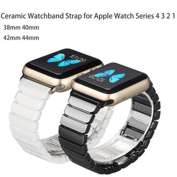 Ceramic Watchband for Apple Watch band 44mm 42mm Smart Watch Link Strap Bracelet Ceramic Watchband iWatch series 5 4 3 40mm 38mm ceramic watchband tool for 38mm 42mm iwatch apple watch series 1 2 replacement band steel butterfly buckle strap wrist bracelet