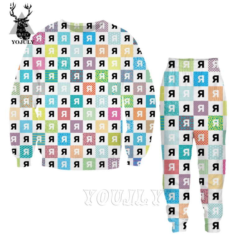 New Psychedelic T Shirt Colorful Fashion Off White Men's Sets 3D Print Hoodie/Sweatshirt/trousers Hip Hop O-neck Streetwear S122