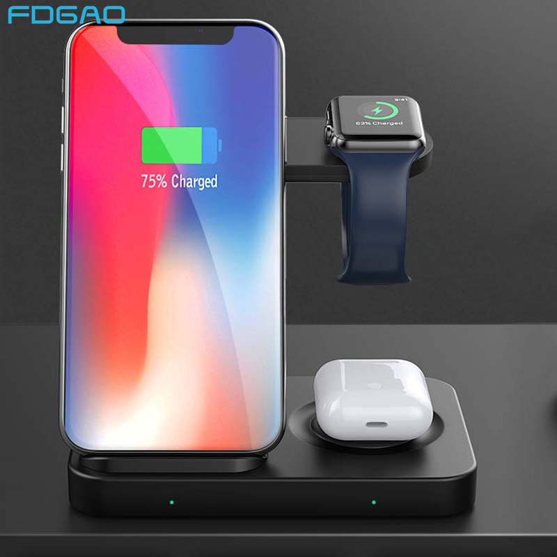 3 in 1 15W Qi Wireless Charger Dock Station for iPhone 11 Pro Samsung S20 Buds Fast Charging Stand For Airpods Pro Apple Watch|Wireless Chargers|   - AliExpress