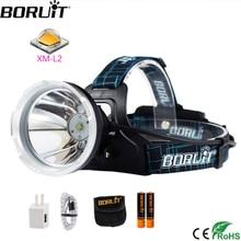 BORUIT B10 XM L2 LED Super Bright Headlight Micro USB Charge 18650 Battery Headlamp 4 Mode Head Torch Camping Hunting Flashlight
