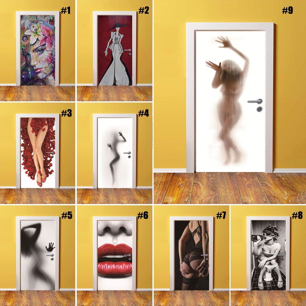 Self Adhesive Renew Home Decor Sexy Girl 3d Door Sticker Print Art Waterproof Wallpaper Mural Wardrobe Renovation Decal Picture