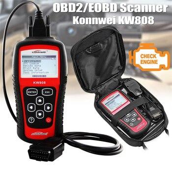 цена на Original KONNWEI KW808 OBD Car Scanner OBD2 Auto automotive Diagnostic Scanner Tool Supports  J1850 Engine Fualt Code Reader dfd