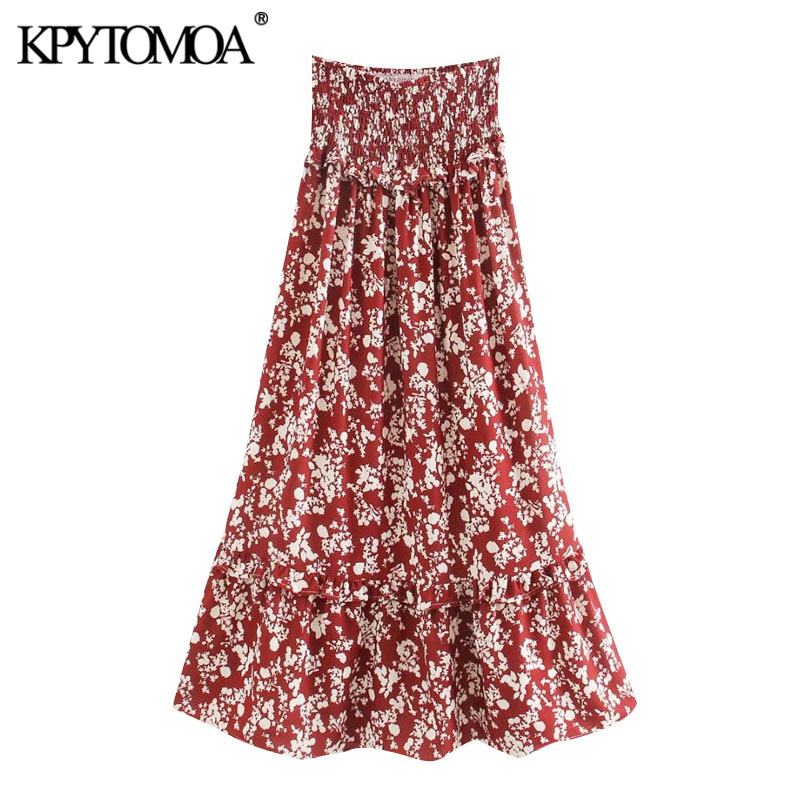 KPYTOMOA Women 2020 Chic Fashion Floral Print Ruffled Maxi Skirt Vintage High Elastic Waist Smocked Female Skirts Faldas Mujer
