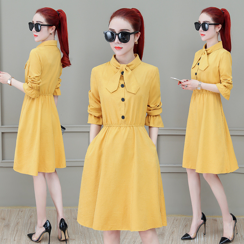 Spring Peter Pan Collar Dress Women's 2019 New Style Ladies' Elegant A- Line Skirt Bowtie High-waisted Mid-length Big Skirt