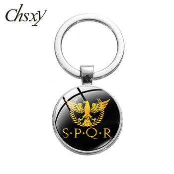 CHSXY Vintage Roman Empire SPQR Key Chain Art Photo Glass Dome Car Keychain Pendant Metal Ring Holder For Friend Jewelry Gifts image