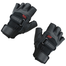 Pair of Black Stylish Leather Fingerless Gloves For Men цена
