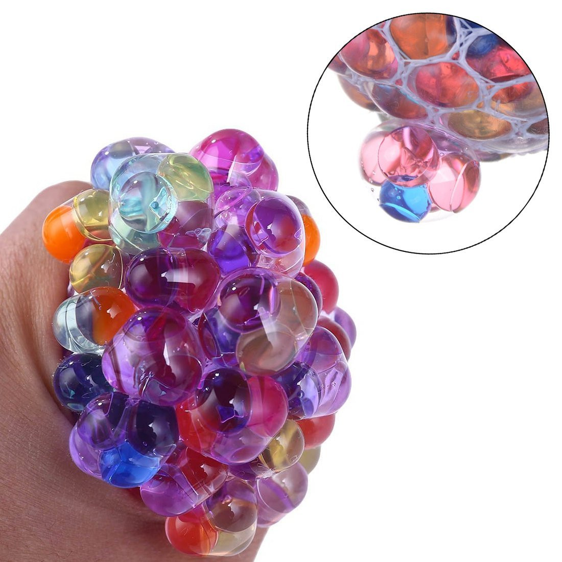 Funny Anti-Stress Squishy LED Mesh Ball Grape Squeeze Sensory Fruity Novelty Toys Kids & Adults Play Vent Rainbow Ball Toy