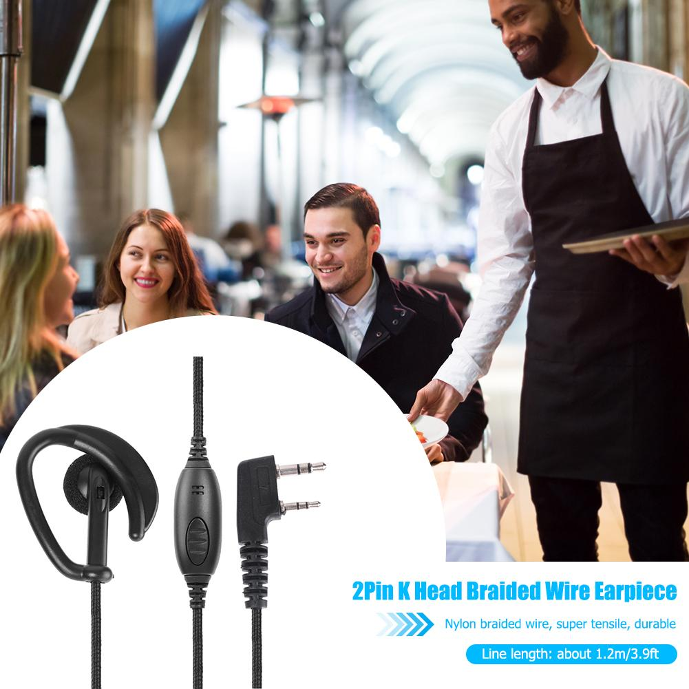 2Pin K Head Braided Earphone Earpiece with PTT Microphone for Kenwood KPG Radio Widely Used in Catering Hotels Outdoor