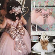 Платье принцессы с бантом для девочек на 1 год, день рождения, вечеринку, Happy Purim, костюм для малышей летние детские кружевные платья на крести...
