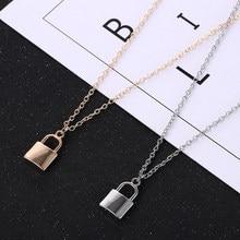 Neue Europäische und Amerikanische Schmuck Einfache Mode Metall Überzug Schloss Halskette Damen Anhänger Schlüsselbein Kette Heißer Verkauf