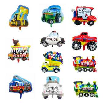 New Style Police Birthday Party Decoration Baby Shower Cartoon Car Fire Truck Train Ambulance Foil Balloon image