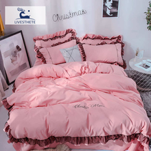 Liv-Esthete Luxury Beauty Pink 100% Cotton Bedding Set Lace Printed High Quality Duvet Cover Flat Sheet Queen King Girl Gift