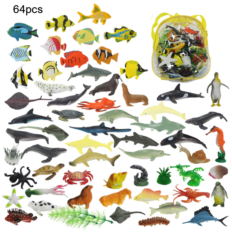 60 Pcs / <font><b>Set</b></font> Mini Jurassic <font><b>Dinosaur</b></font> Sea Animal Jungle Poultry Elephant Giraffe Statue Model <font><b>Toy</b></font> Children Educational <font><b>Toy</b></font> Gift image