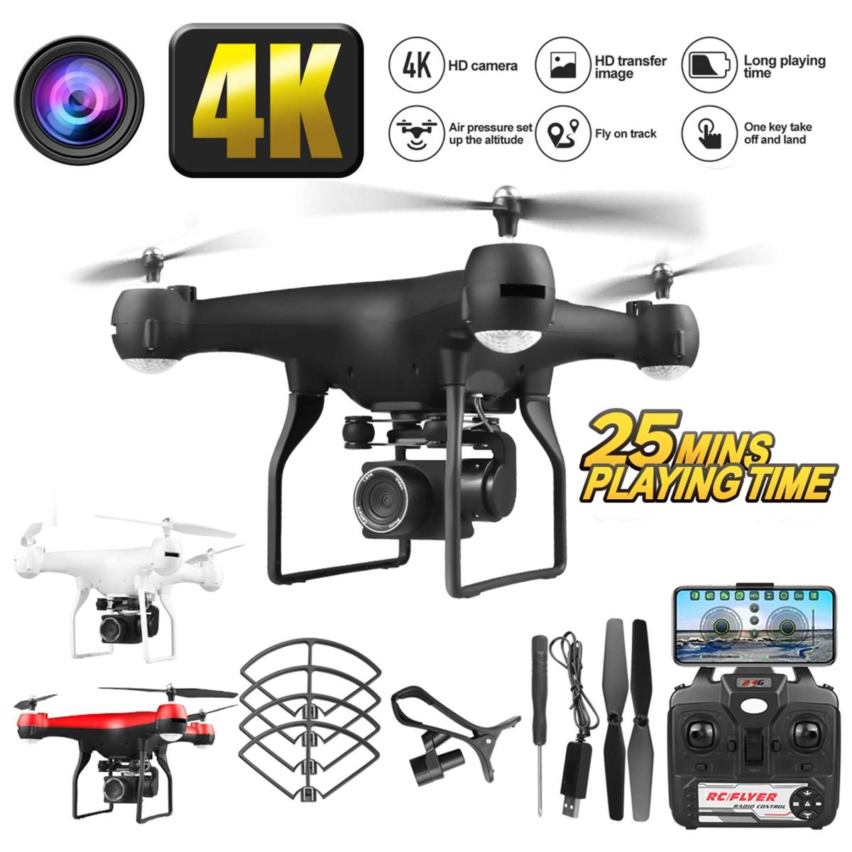 New Design  4K 1080 HD Aerial Camera with Wide Angle Quadcopter WIFI FPV High Hold Mode Foldable Arm RC Drone With Battery