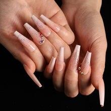 24 teile/schachtel presse auf nägel sarg Ballett Gradienten Scallion rosa gebrochen bohrer rosa abnehmbare pre design acryl nagel tipps für mädchen