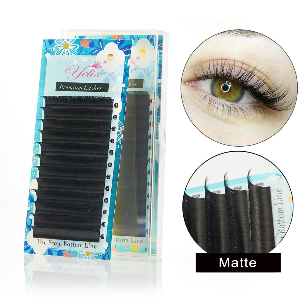 Yelix Matte Individual Eyelashes Mix Size High Quality Classic Eyelash Extension Lashes Extension For Professionals