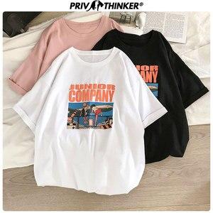Футболка Privathinker Женская, хлопковая, с принтом, летняя, уличная, с коротким рукавом, футболка мужская, Корейская, свободная, женская, забавная,...