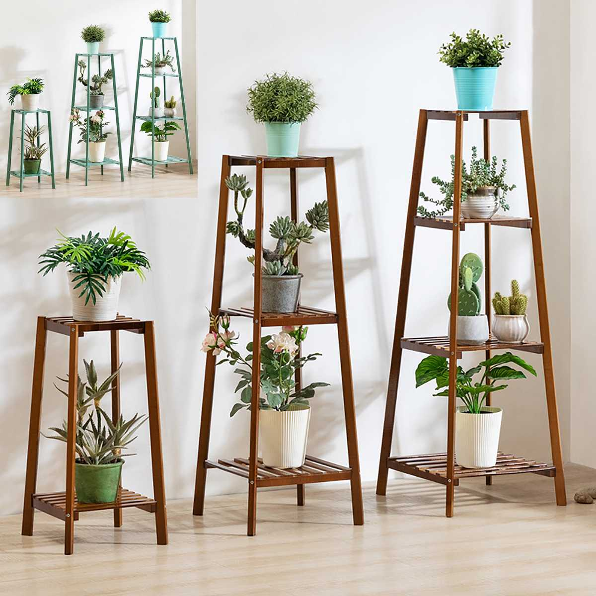 4 Layers Simplicity Wood Stand For Plants Landing Type Light Extravagant Multi-storey