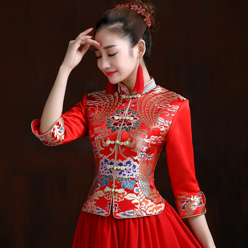 Chinese Traditional Wedding Dress Ancient Costume Cheongsam Marriage Dress For Toast Bride Marriage Formal Dress Red, Long Chine