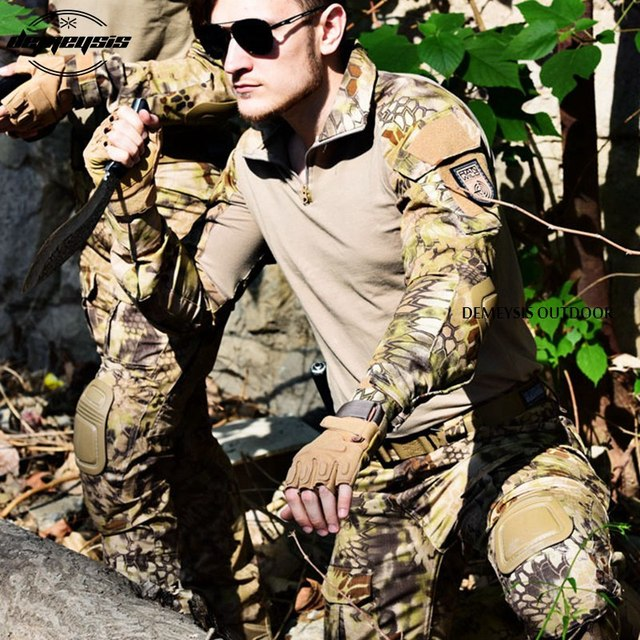 Airsoft Tactical Uniform Combat Shirt Pants with Elbow Knee Pads Military Hunting Clothes Multicam ACU Desert Camouflage 3