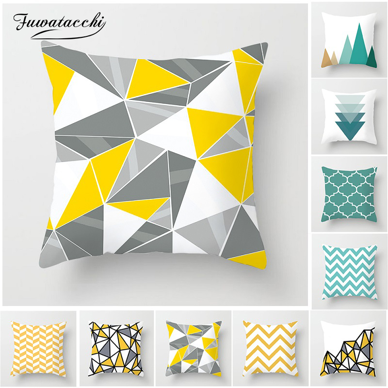 Fuwatacchi Green Yellow Geometric Cushion Cover Wave Mountain Arrows Decorative Pillows For Home Chair Sofa Pillow Cover 45*45cm