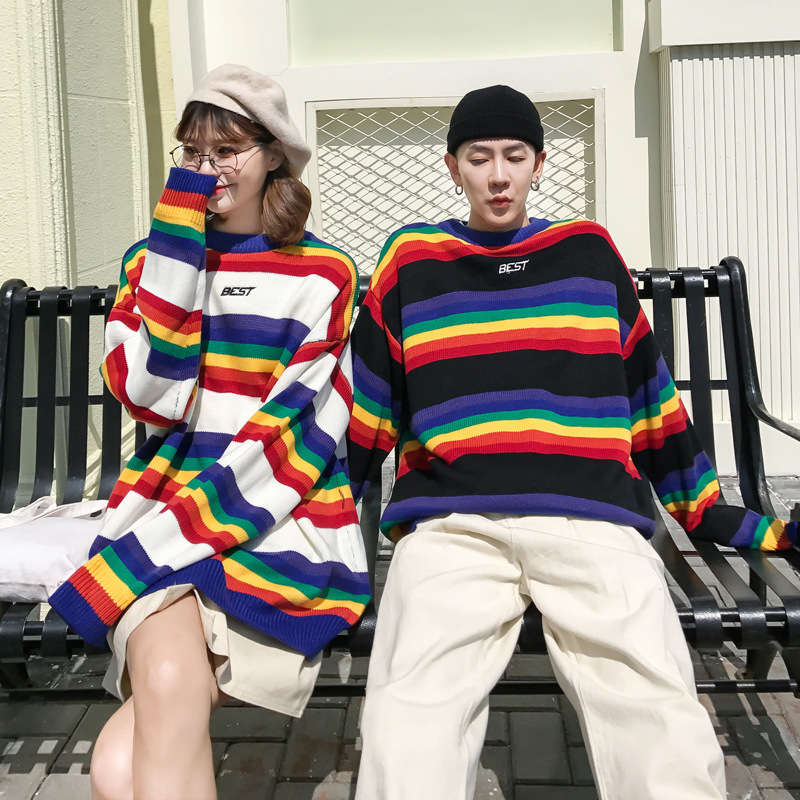 Sweater Men Rainbow Striped Hit Color Mens Pullover Loose High Street Sweaters Fashion Knitted Male Couple Sweaters Streetwear