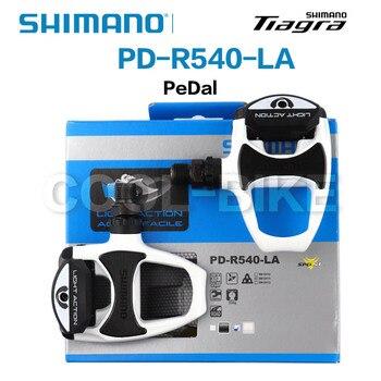 SHIMANO-pedal de acción con luz para bicicleta de carretera PD R540, pedales...