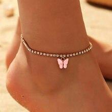 Borboleta de cristal tornozeleira encantos tornozelo pulseira tornozeleiras para mulher praia pé jóias branco rosa azul roxo borboleta tornozeleira n145