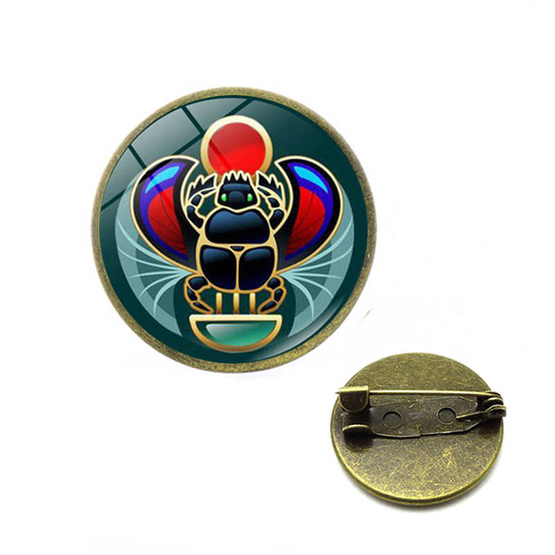 2019 Symbol of Strength Egyptian Scarab Glass Dome brooches Ancient Eye of Horus Egypt pins Jewelry Fashion Charm Women Gift