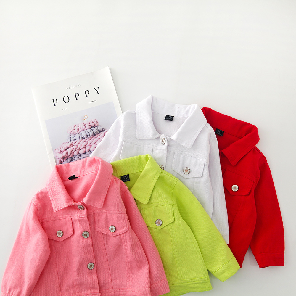 Hceea4e012a05436a990a5b326132d982l - Brand New Baby Girls Boys Candy Color Denim Jacket Kids Cotton Casual Jeans Jackets Children Clothes 1-10age