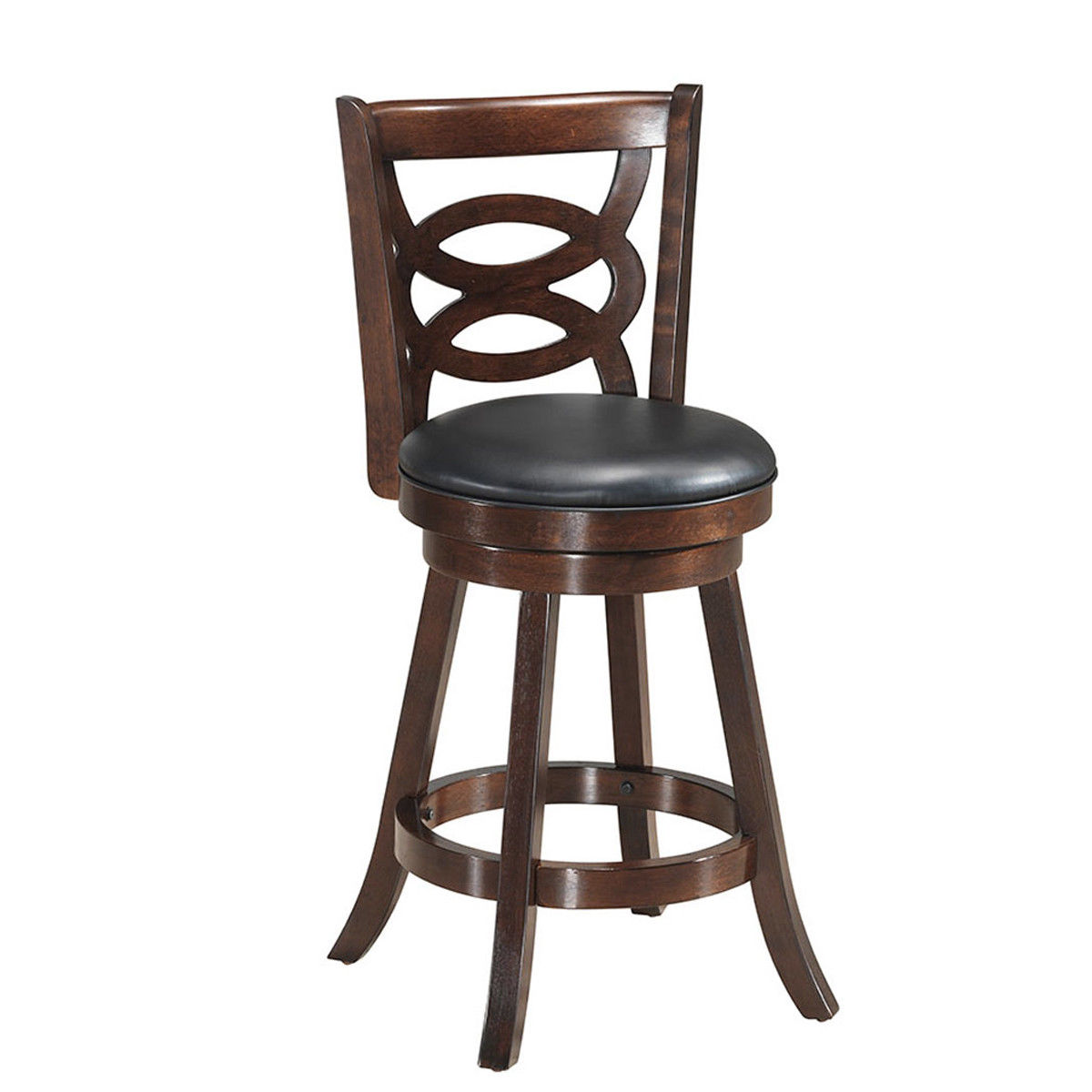 Costway Swivel Stool 24'' Counter Height Upholstered Dining Chair Home Kitchen Espresso