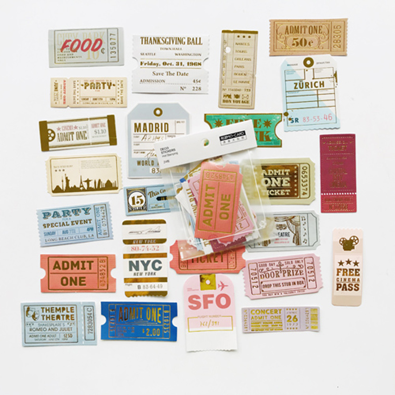24 Sheets /Bag Old Memories Of Ticket Stub DIY Adhesive Decorative Sticker