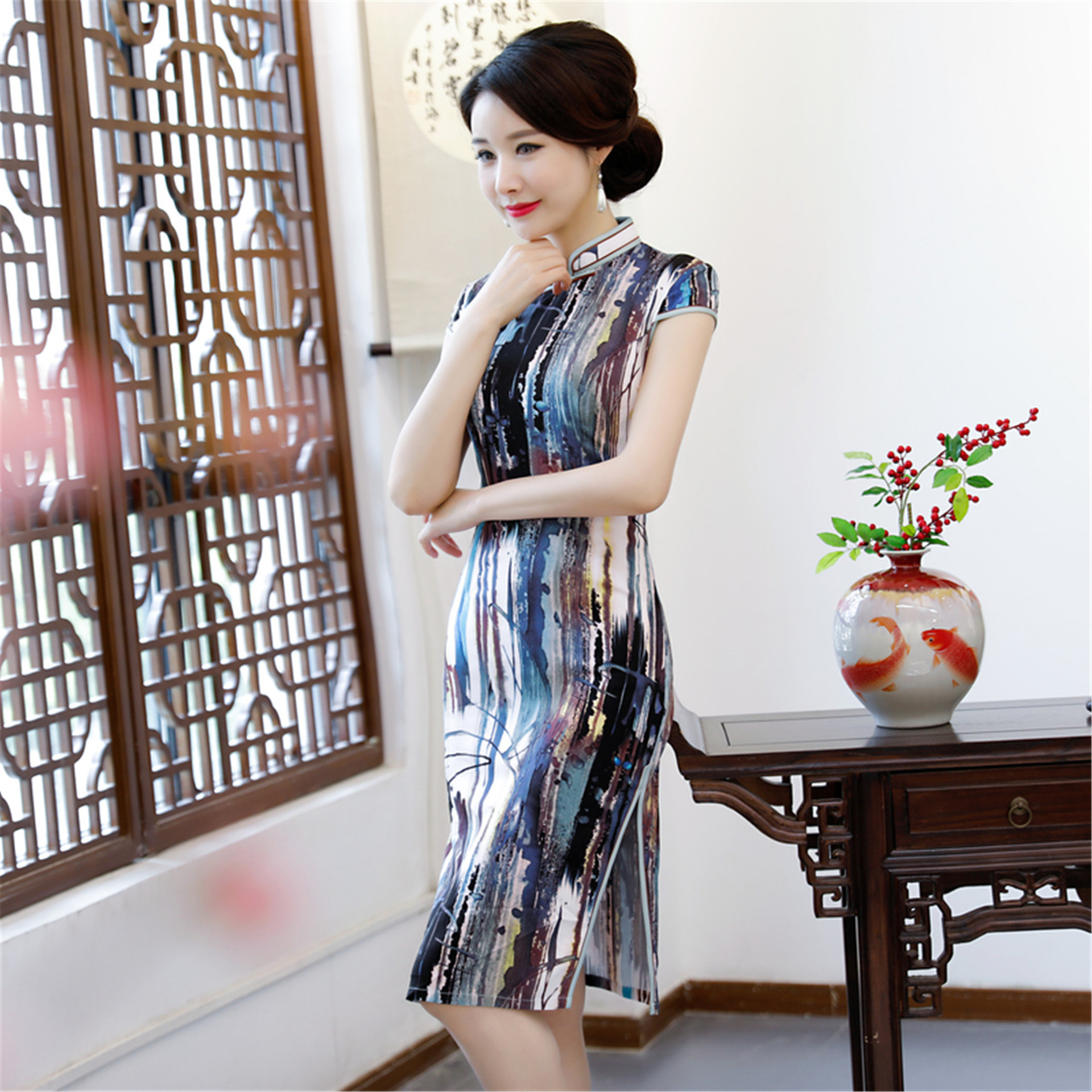 Simple And Pretty Beauty Summer New Style Mid-length Cheongsam Dress Slim Fit Slimming Formal Dress Improved Cheongsam Suzhou Fo