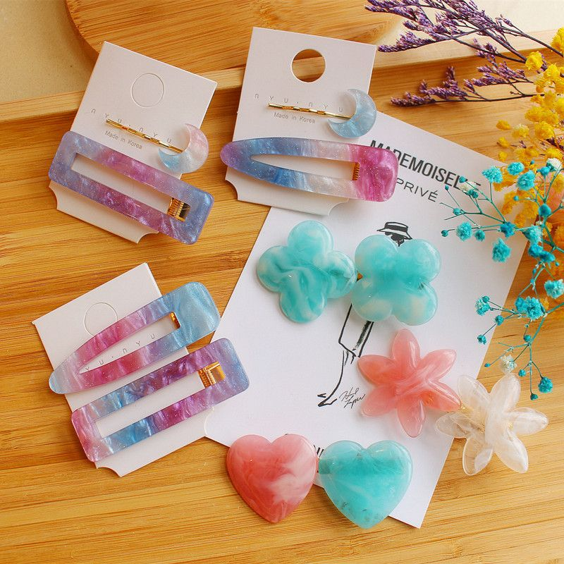 Korea Fashion Gradient Purple Starry Sky Moon Hairpins Flower Heart Acrylic Geometric Rectangle Waterdrop Hair Clips