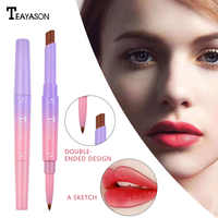 12 Colors Double-ended Lipstick Lips Makeup Easy to Wear Matte Lip Gloss Lipliner Pencil Red Nude Pink Liquid Lipsticks TSLM1