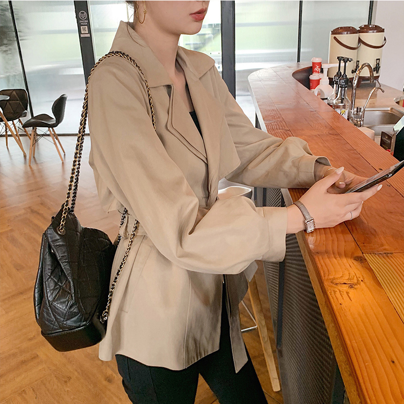 Ailegogo Autumn Fashion Women Short   Trench   Coat Turn Down Collar Belt Double Breasted Khaki Coffee Loose Tops Outwear