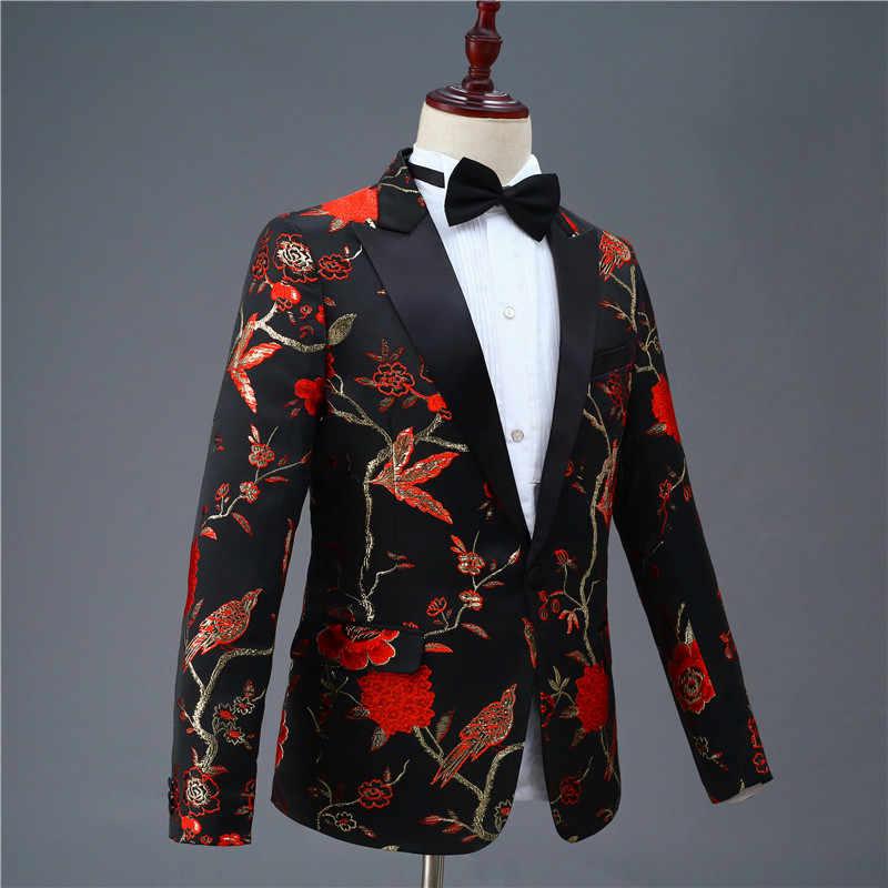Blazer estampado Vintage negro y rojo para hombre chaqueta elegante para Hombre Trajes de baile de graduación vino esmoquin Terno Masculino chaqueta de primavera para los hombres