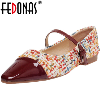 FEDONAS Concise Elegant New Women Mary Janes Cow Patent Leather Gingham Shoes Pointed Toe Low Heel Shallow Casual Shoes Woman