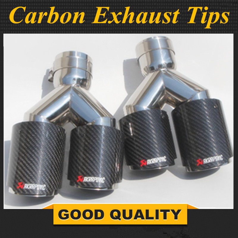"""Blue ID:2.5/""""//60mm Real Carbon Fiber Glossy Exhaust Pipe Tip For BMW BENZ VW AUDI"""