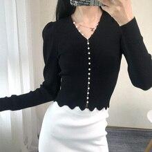 Черная трикотажная Женская куртка с жемчужной пряжкой, Женский Осенний милый свитер, тонкий вязаный кардиган, топы