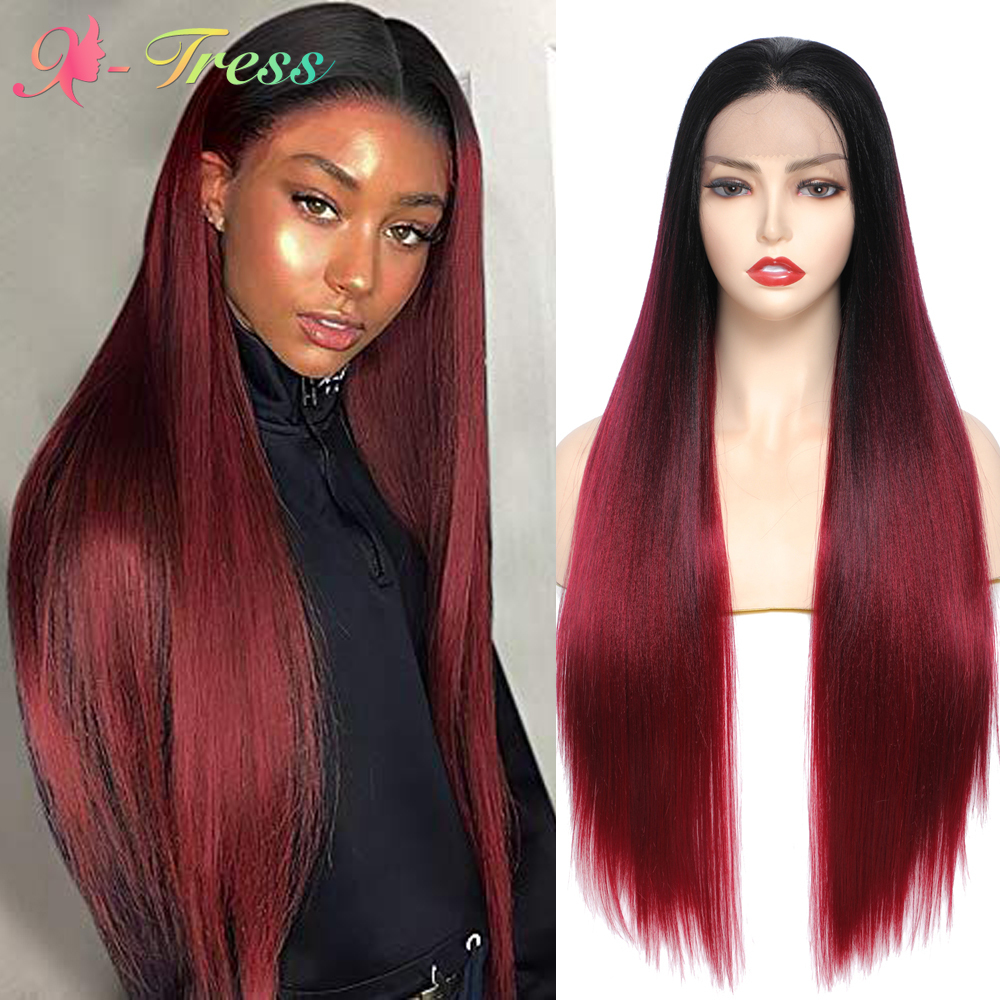 Ombre Red Wig Synthetic Lace Front Wigs for Black Women X-TRESS Long Strsight Natural Looking Free Part Lace Wigs Heat Resistant