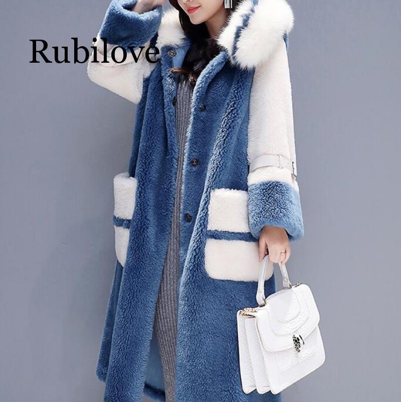 Women 2019 Winter Fox Fur Collar Hooded Faux Fur Coat Female Natural Sheep Shearing Long Overcoat Wool Jacket
