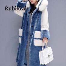 Women 2020 Winter Fox Fur Collar Hooded Faux Fur Coat Female Natural Sheep Shearing Long Overcoat Wool Jacket