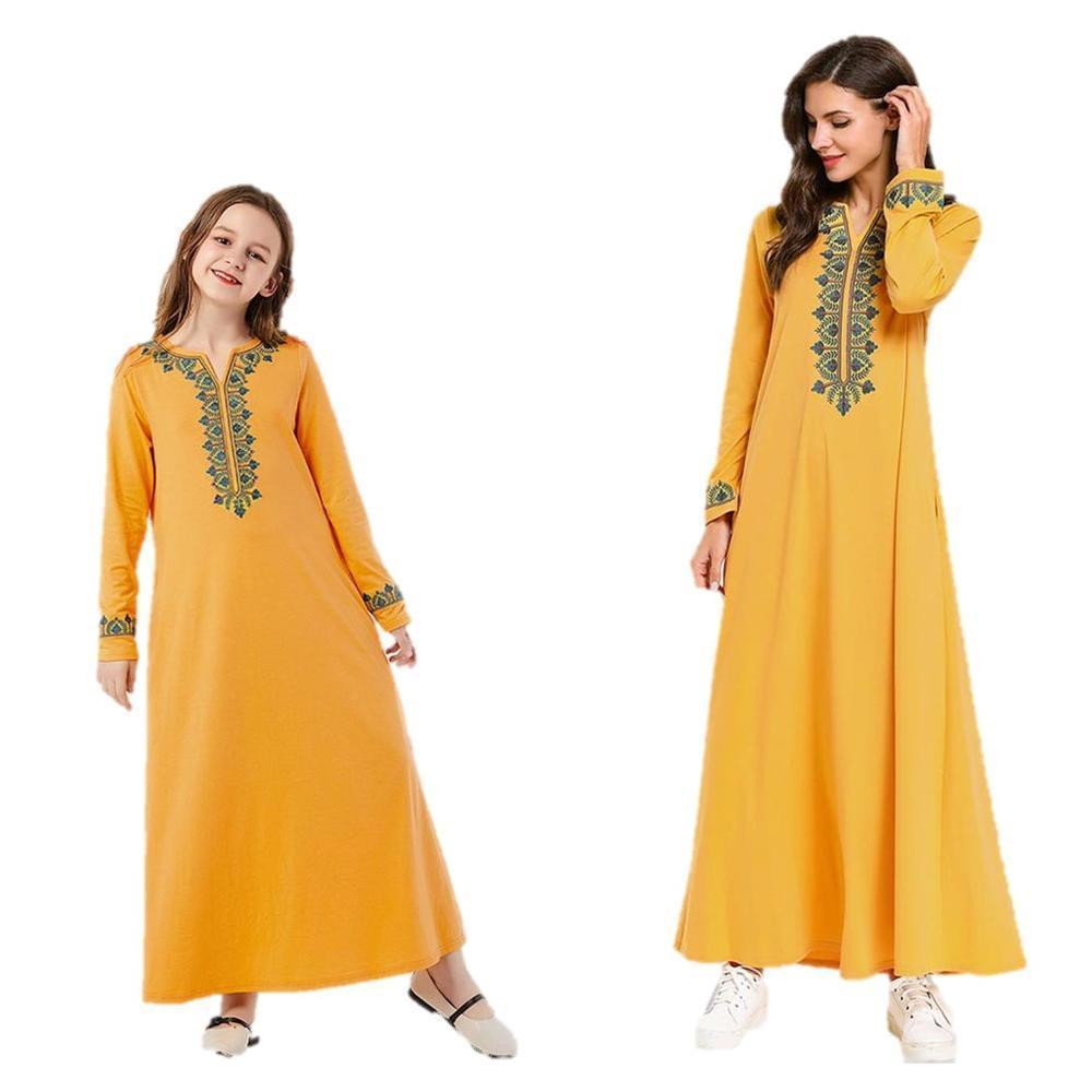 Mother & Daughter Clothes Abaya Maxi Dress Ethnic Kids Wear Family Matching Outfits Kimono Long Robes Eid Ramadan Islamic Yellow