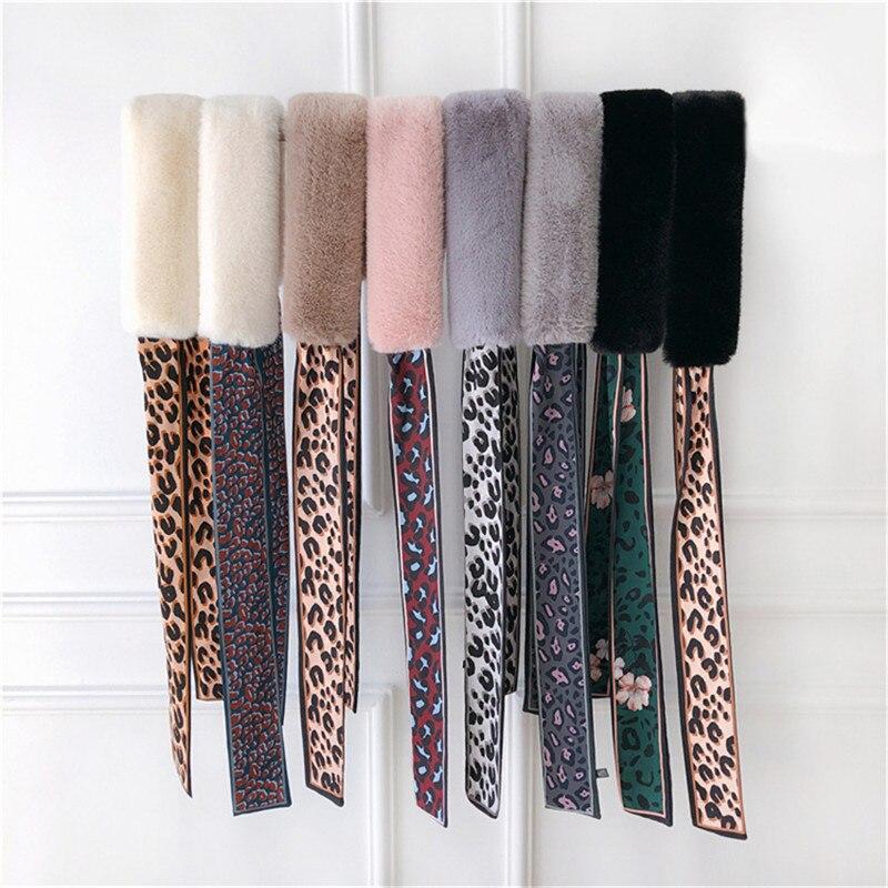Winter Scarf 2019 New Design Fur Scarf Leopard Scarf Women Luxury Brand Skinny Silk Scarf Female Neckerchief Scarves For Ladies