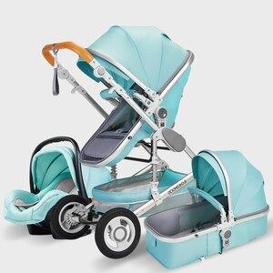 Luxury Baby Stroller 3 in 1 with Car Seat Portable Reversible High Landscape Baby Stroller Hot Mom Pink Stroller Travel Pram()