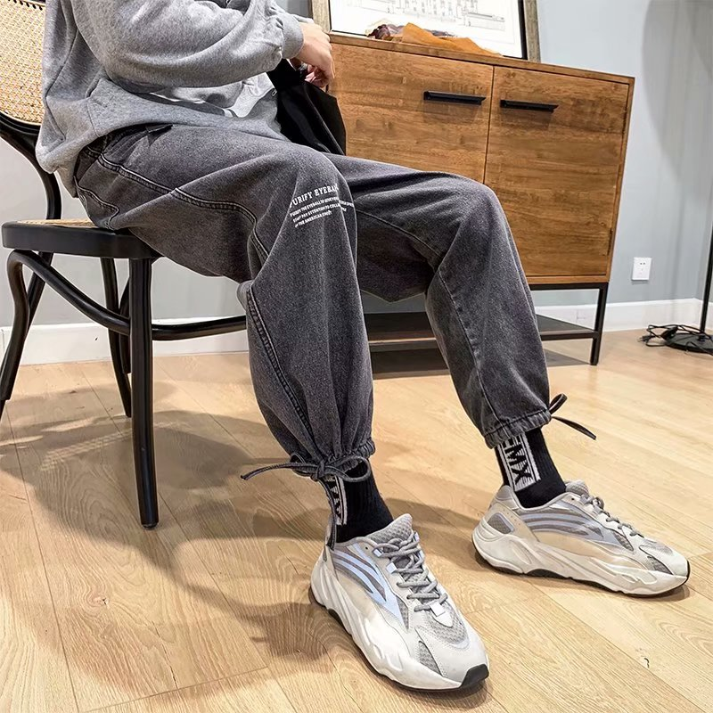 2020 Vintage Fashion Brand Loose Men's Autumn 9-point Jeans Casual Straight Tube Drop Feeling Hip Hop Feet Wide Legs